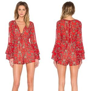 For Love & Lemons Pia Red Floral Lace Up Romper